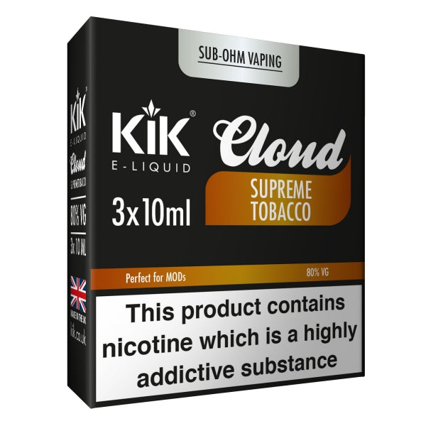 Supreme Tobacco E-Liquid 30ml (3x 10ml) KiK Cloud