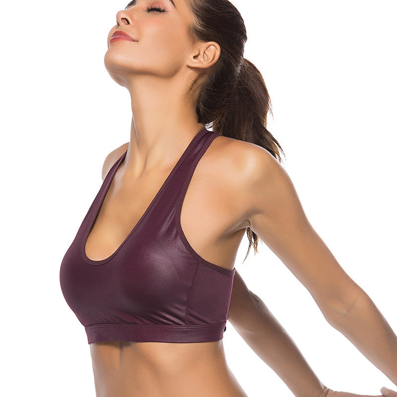 Shiny Sports Bra Fitness Crop Top