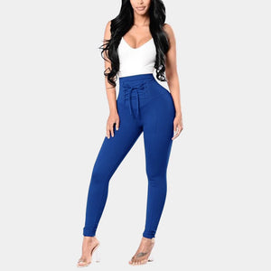 Lace Up Skinny High Waist Pencil Leggings - Fashion