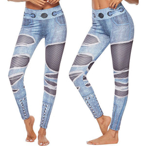 Shredded Jeans Print Leggings