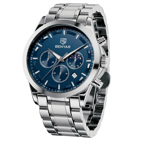 BENYAR Mens Watch Chronograph Waterproof Analog Quartz Wrist Watch Stainless Steel