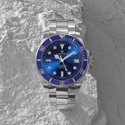 Silver Stainless Steel with Blue Dial