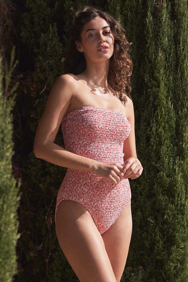 Ellen Smocked One-piece Swimsuit in Ditsy
