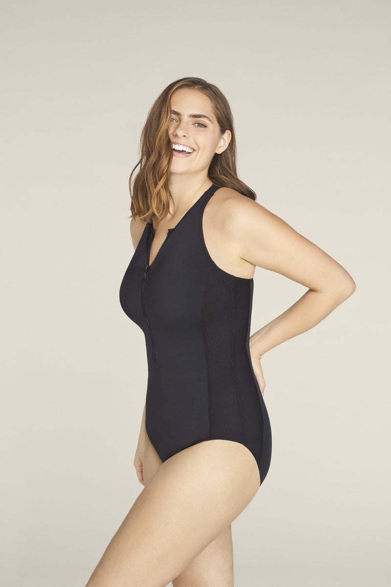Margaret Zipper One-piece Swimsuit in Black