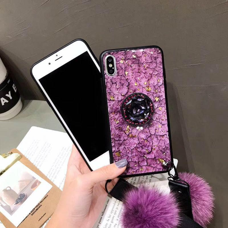 2020 American Style Phone Case For iPhone with Bracket/Fur Ball - hotbuyy