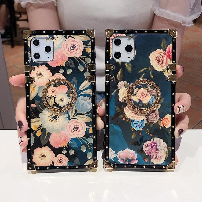 Stylish French Style Flower Lanyard Ring Phone Case for iPhone Samsung - hotbuyy