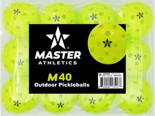 Load image into Gallery viewer, Master Athletics M40 Outdoor Pickleballs - 12 pack