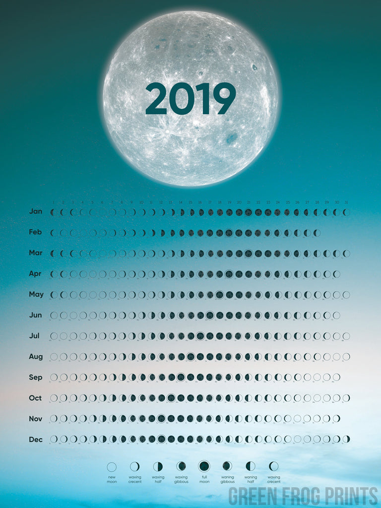 Moon Phases Calendar for 2019 | Beautiful Moon Schedule Design | When Is The Next Full Moon?