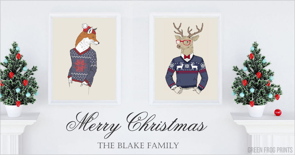 Funny Christmas Deer with Antlers Wearing Red Glasses & Sweater Poster Print Wall Art