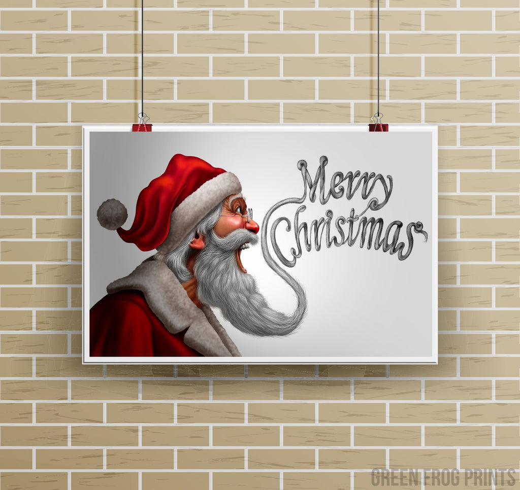 Funny Santa Merry Christmas Beard Poster Print Holiday Art Decor