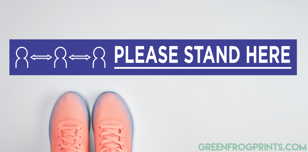 PLEASE STAND HERE Social Distancing Floor Self Adhesive Sticker Decals For Crowd Control & Public Safety