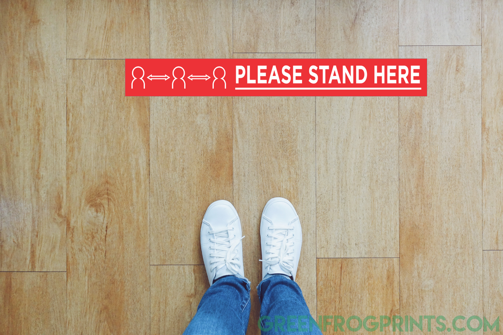 Set of 10 PLEASE STAND HERE Social Distancing Floor Self Adhesive Sticker Decals For Crowd Control & Public Safety