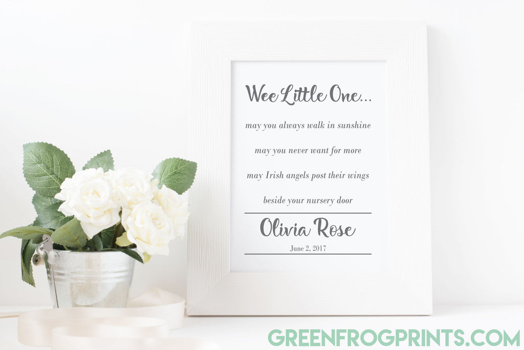 Wee Little One Irish Angels Baby Blessing Art Print | Irish Baptism Newborn Gift Idea | Nursery Decor