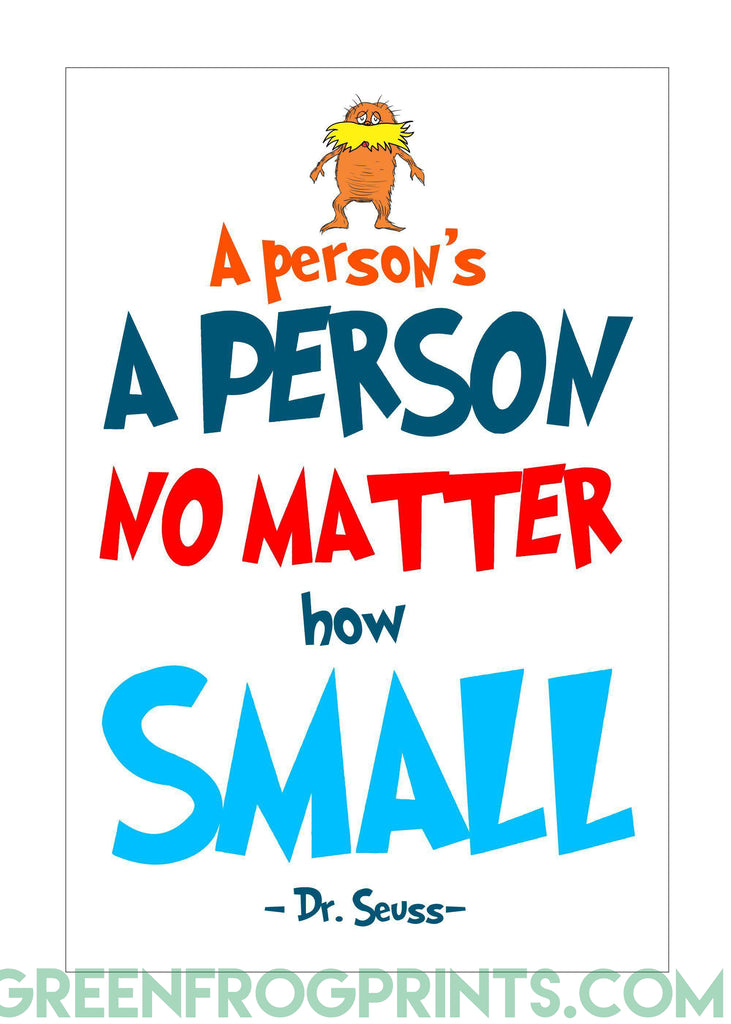 A Person's A Person No Matter How Small | Dr. Seuss Colorful Poster Print | Classroom Decor