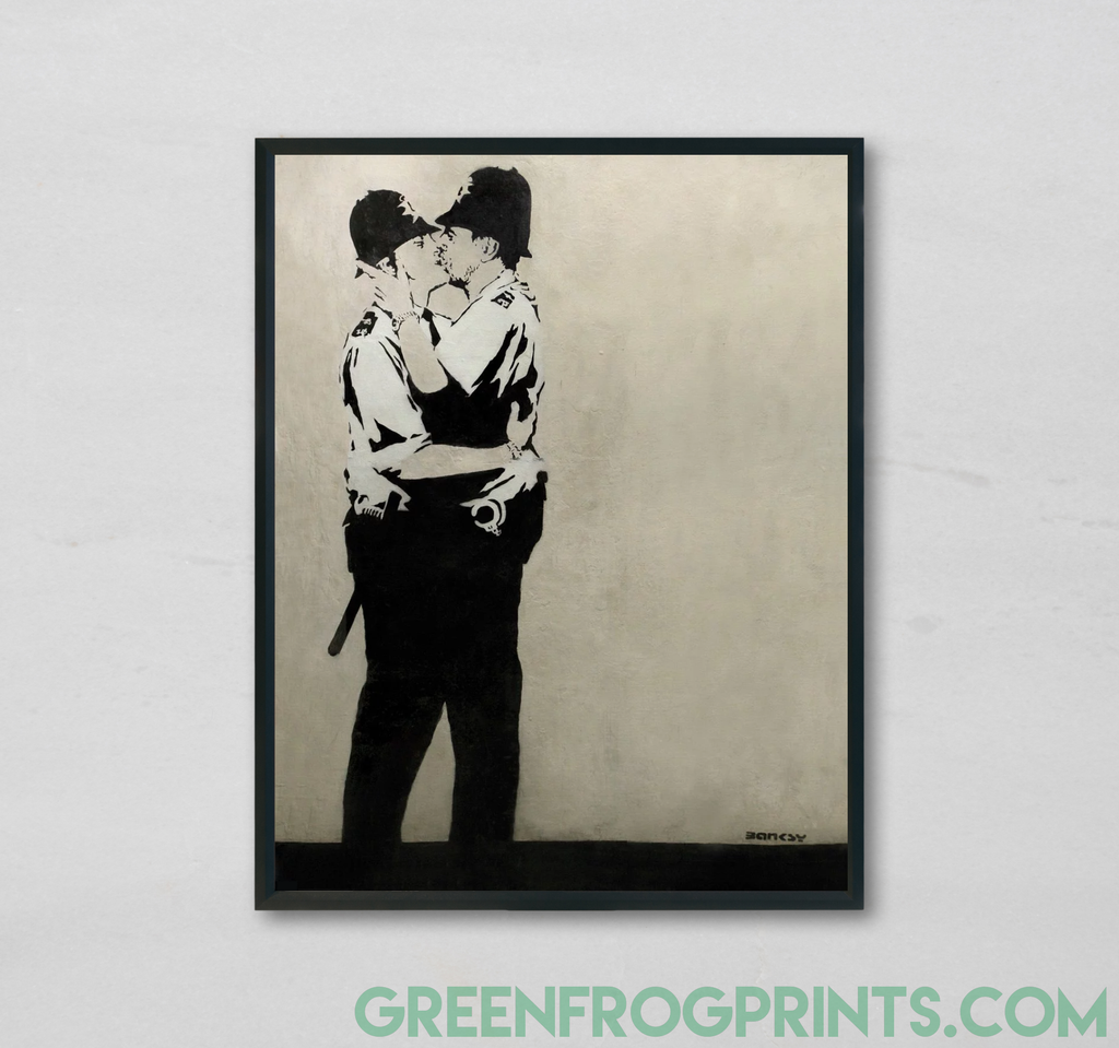 Banksy Poster Print - Kissing Coppers British Policemen Street Art | Graffiti Stencil Poster Print