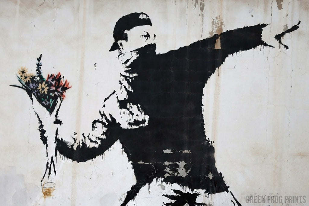 Banksy Rage Man Throwing Flowers Poster Print Wall Graffiti Art Decor