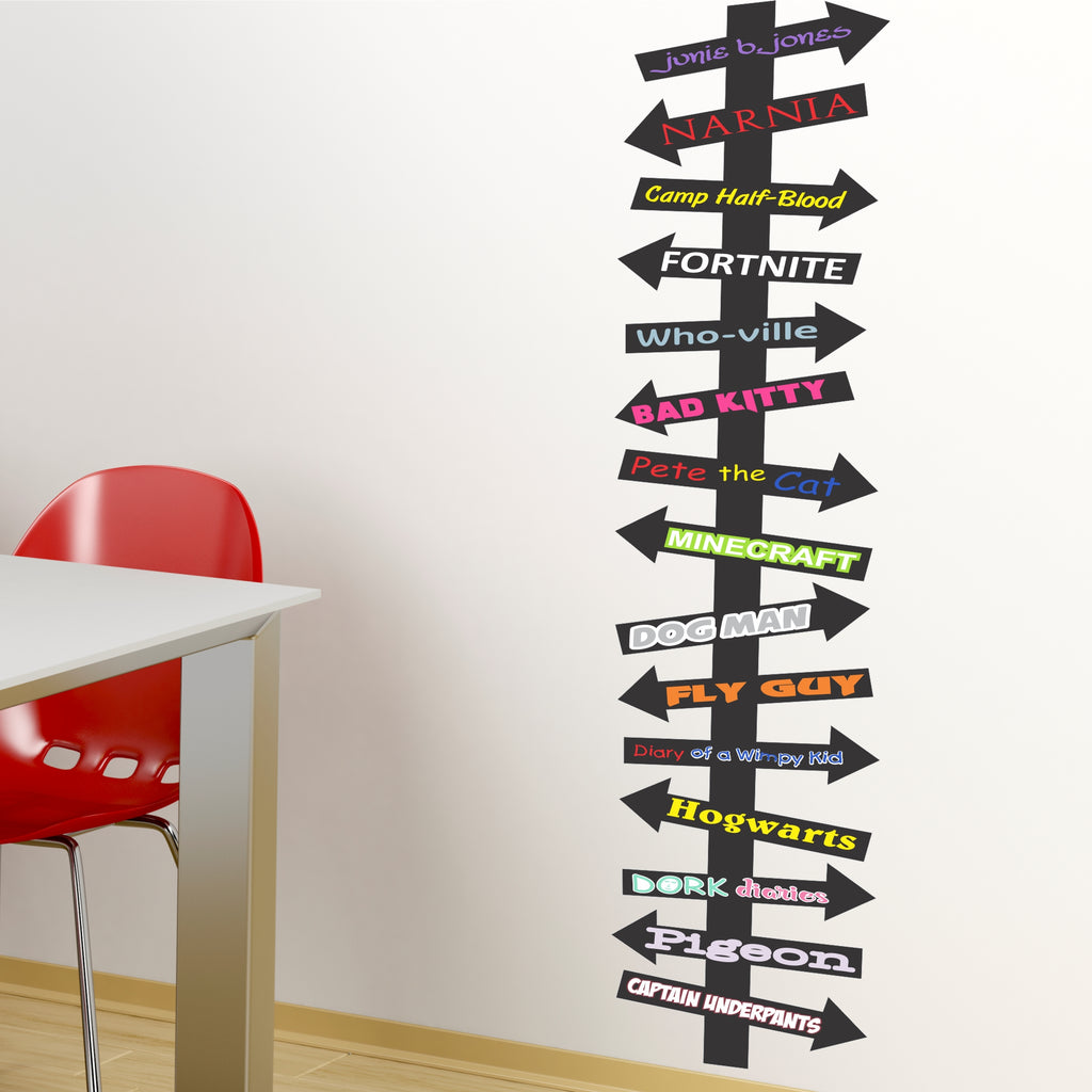 Colorful Book Destination Arrows Sign | Library and Kid's Reading Area Wall Decor Decal
