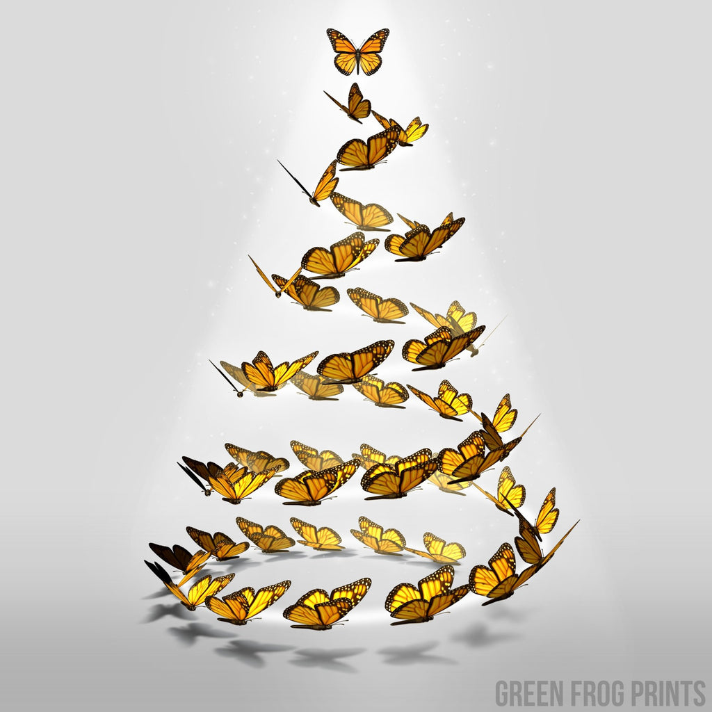 Beautiful Monarch Butterflies Christmas Tree Holiday Print Poster Art Decor