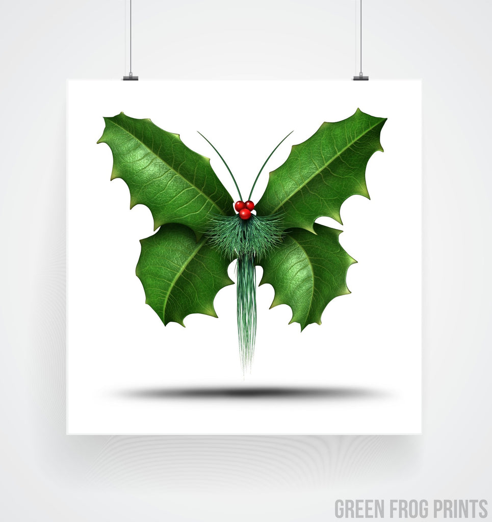 Christmas Holly Butterfly Picture Cool Poster Print Art Unusual Holiday Decor