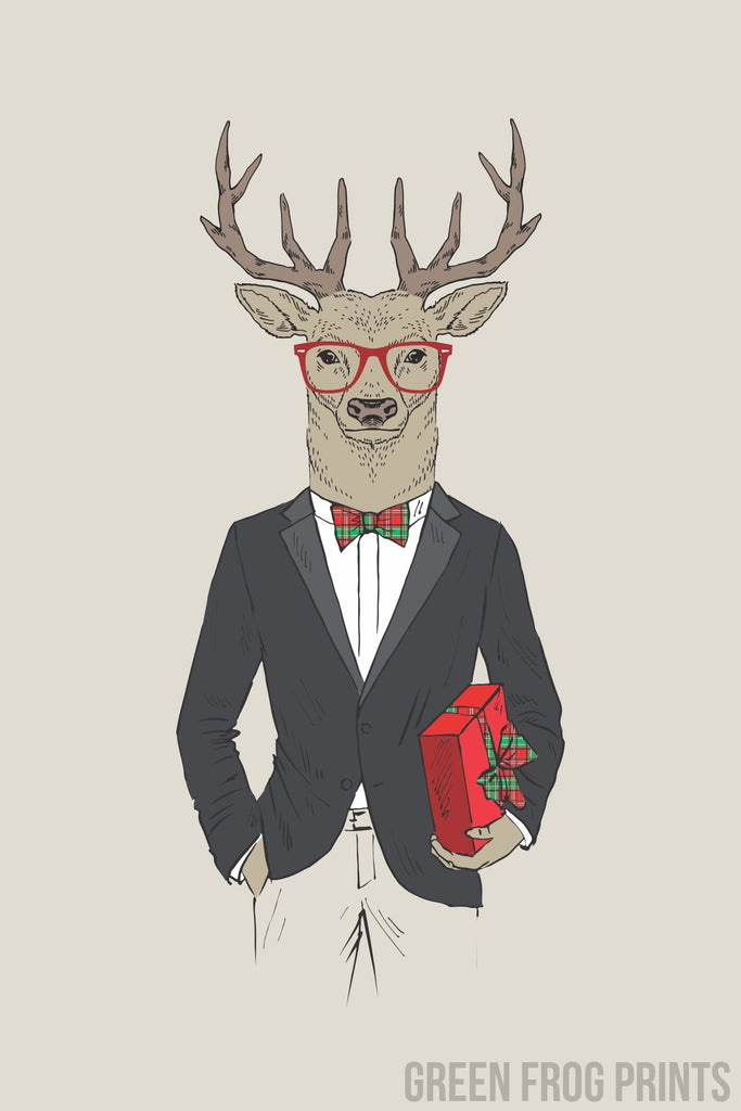 Hand drawn Vintage Christmas Deer with Antlers Wearing A Black Tux Poster Print Wall Art