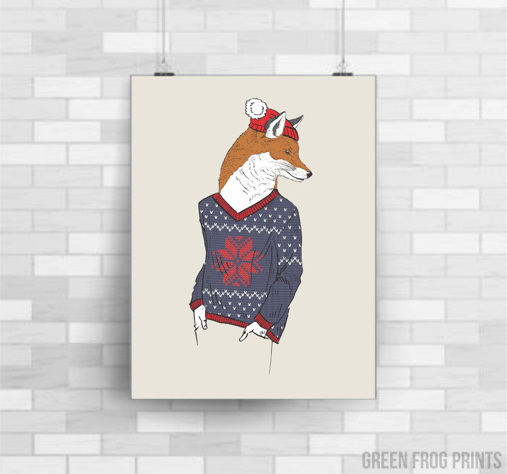 A Fantastic Christmas Fox Wearing A Sweater and Santa Hat Poster Print Wall Art