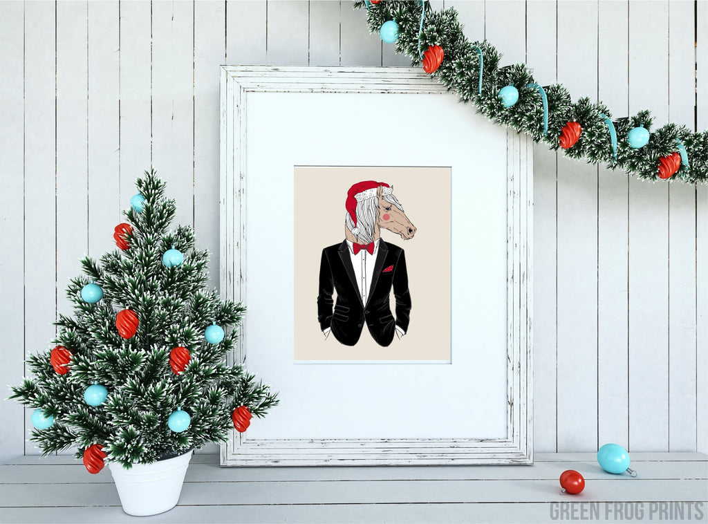 Stylish Vintage Christmas Horse Wearing A Black Tux and Santa Hat Poster Print Wall Art