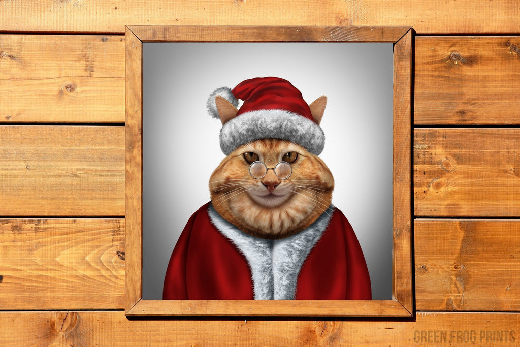 Santa Cat Realistic Drawing Christmas Poster Print Art Funny Unusual Holiday Decor