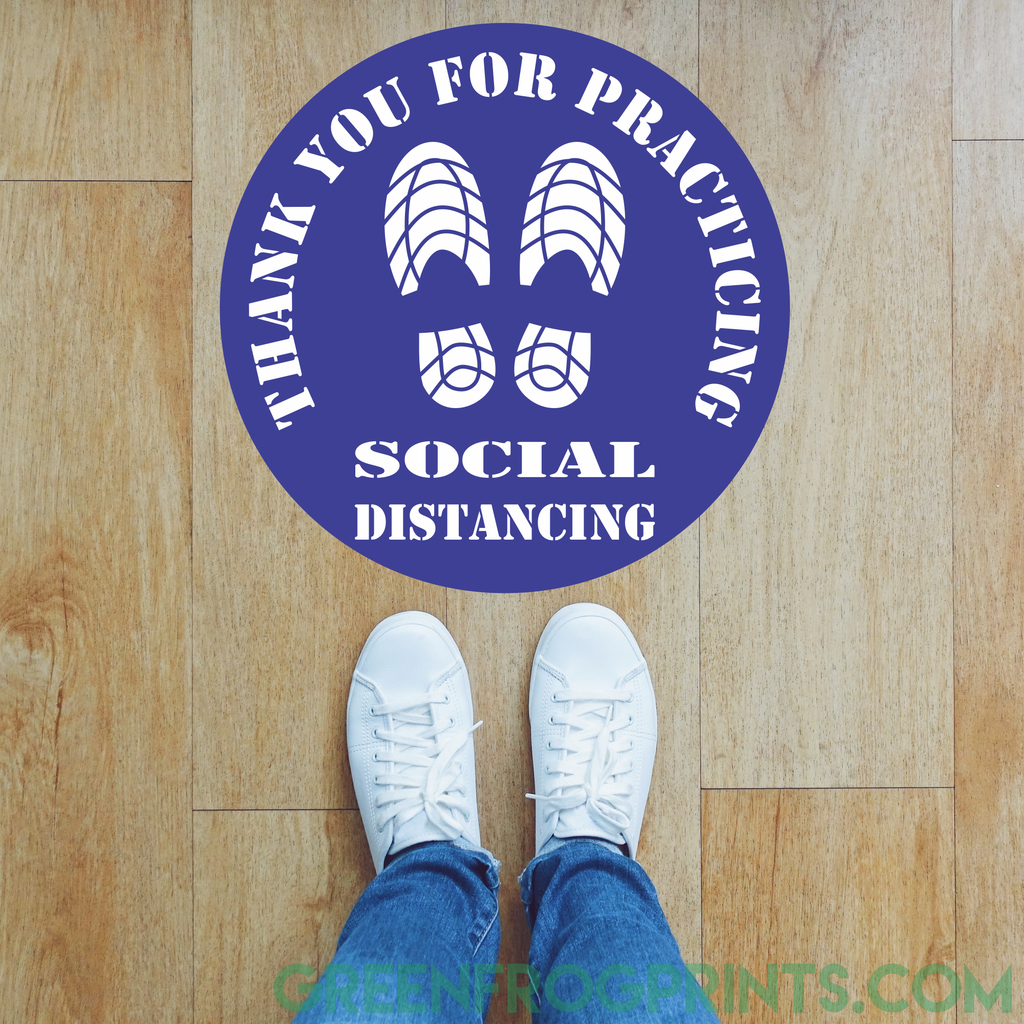 Round Social Distancing Floor Self Adhesive Sticker Decals For Crowd Control & Public Safety
