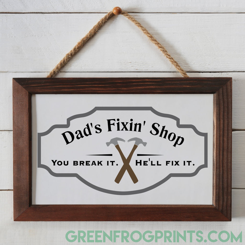Dad's Fixin' Shop | Personalized Repair Shop Poster Art
