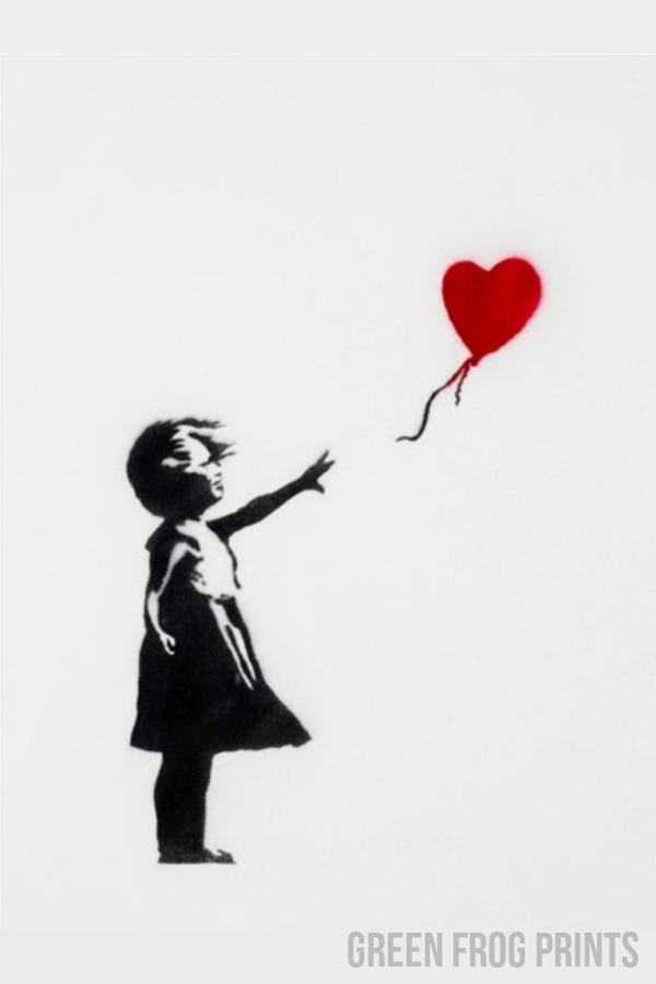 Banksy Girl with Red Heart Balloon Poster Print Wall Graffiti Art Decor