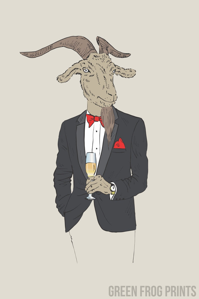 Goat Wearing A Christmas Tuxedo Drinking Champagne Funny Poster Art Holiday Decor