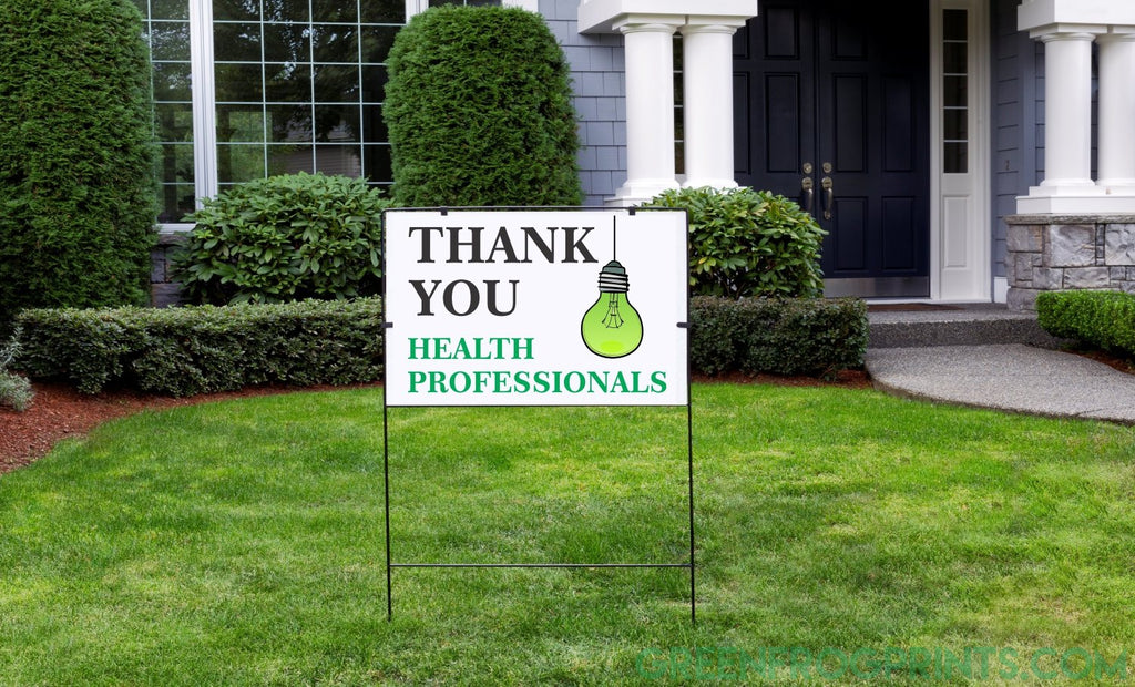 THANK YOU Health Professionals Green Lightbulb Sign  | Yard Sign | Poster or Decal