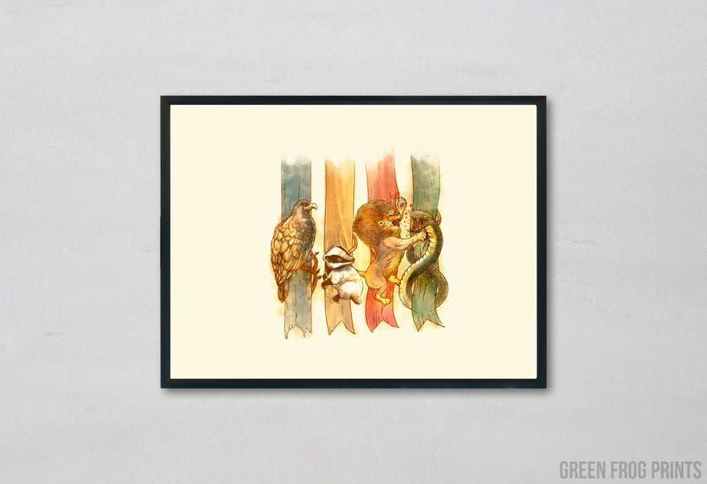 Harry Potter Poster Print | Potter Fan Room Decor | Hogwarts House Animals Poster