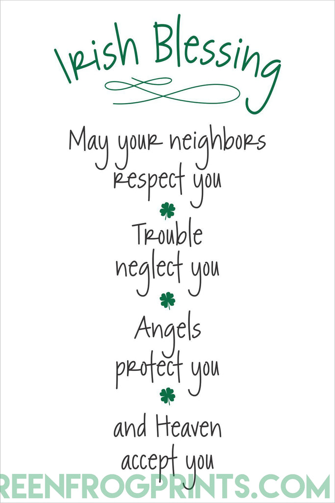 May Heaven Accept You | Funny Irish Blessing Wall Art Print | St. Patrick's Day Decor