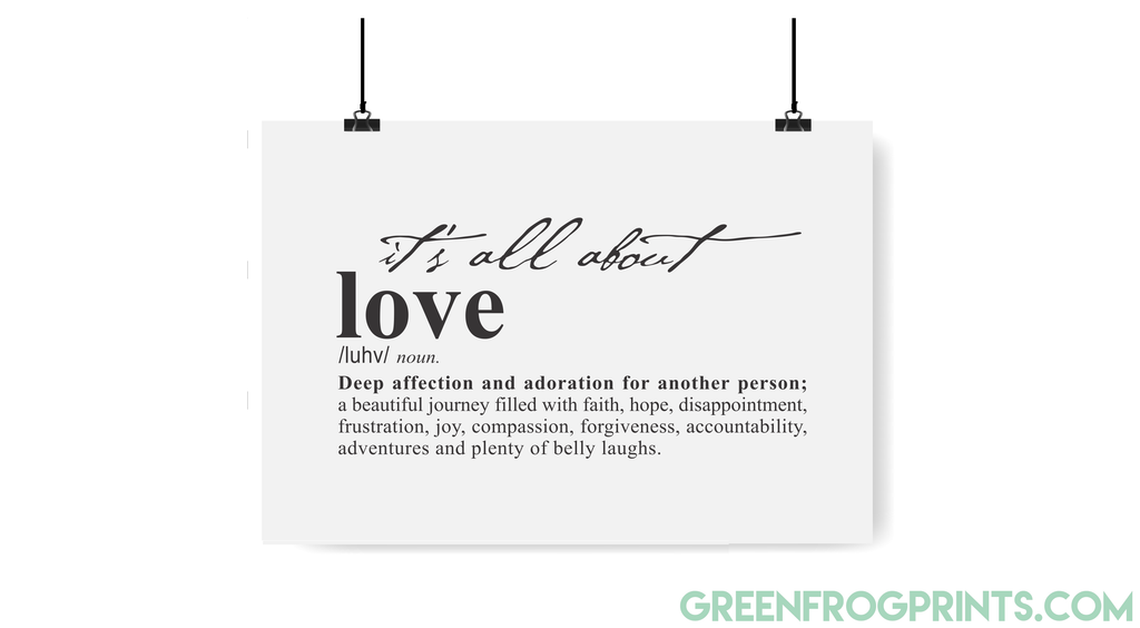Love Definition Art Print Poster Modern Design | Romantic Wall Art Poster Gift