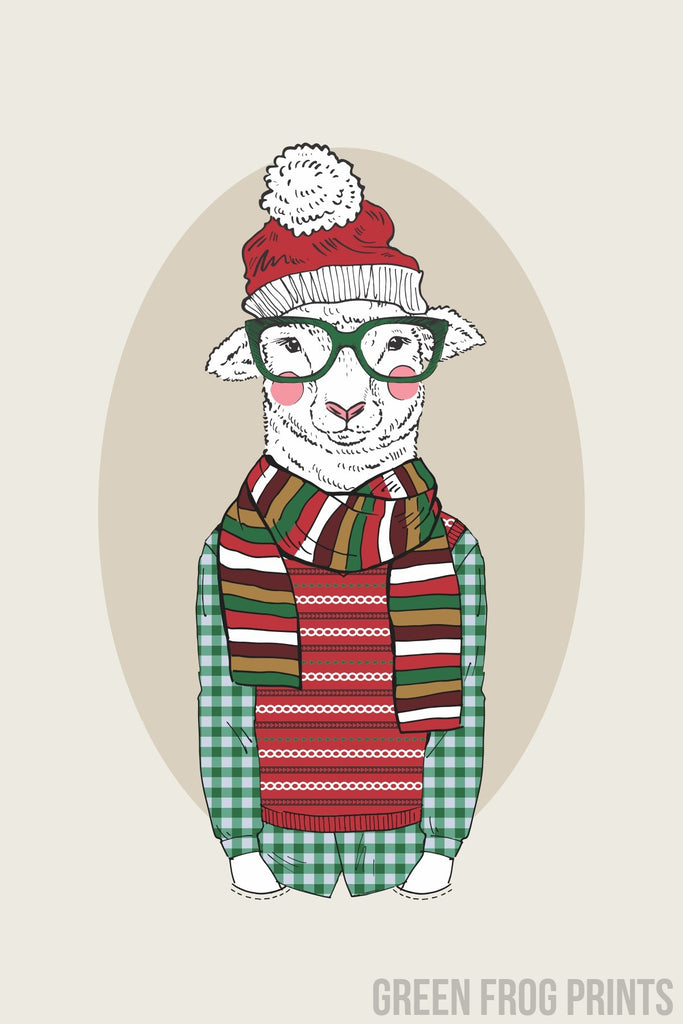 Christmas Lamb Boy Wearing A Sweater and Santa Hat Poster Print Wall Art Holiday Decor