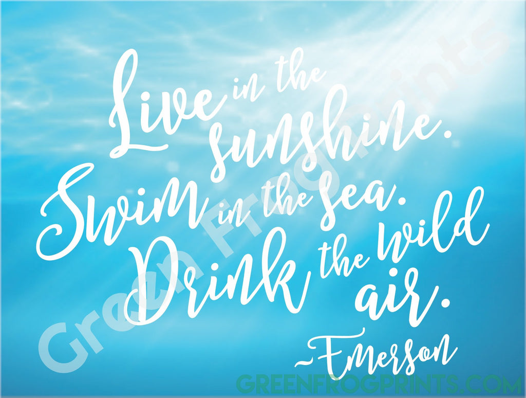 Emerson Typography Ocean Quote Poster | Inspirational Poster Art Print Beach Home Nautical Decor
