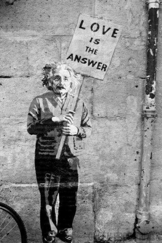 Banksy Street Art - Einstein Love Is The Answer Poster Print Wall Graffiti Art Decor