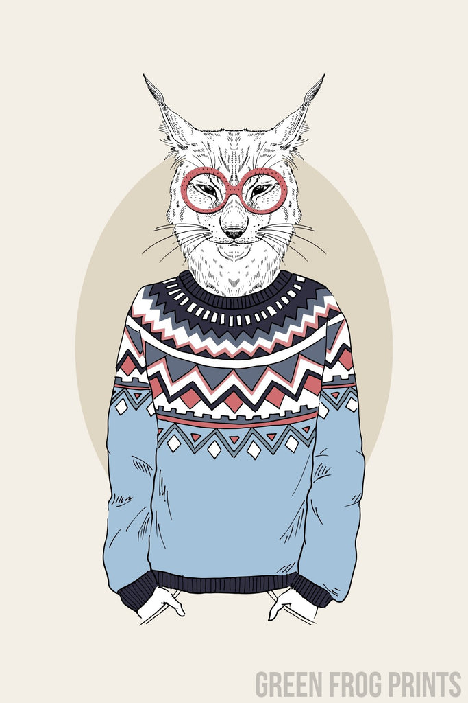Lynx Wearing A Christmas Sweater Funny Poster Print Wall Art Holiday Decor