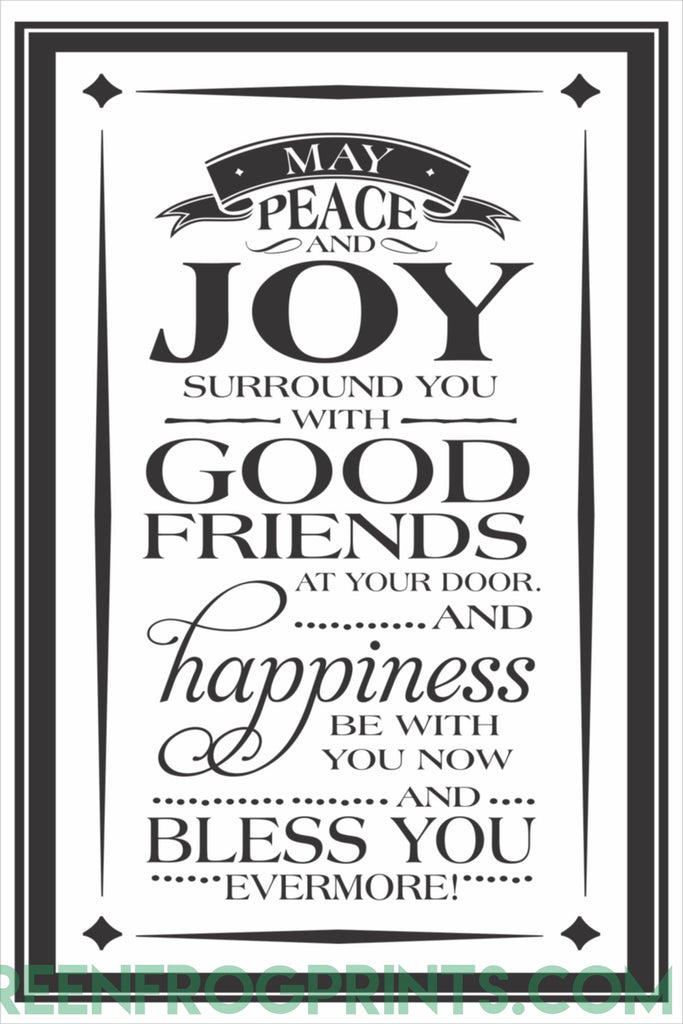 May Peace & Joy Surround You | Irish Blessing Art Print Poster | St. Patrick's Day Decor