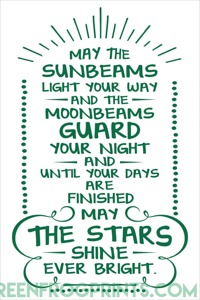 May The Sunbeams Light Your Way | Irish Blessing Wall Art Print | St. Patrick's Day Decor