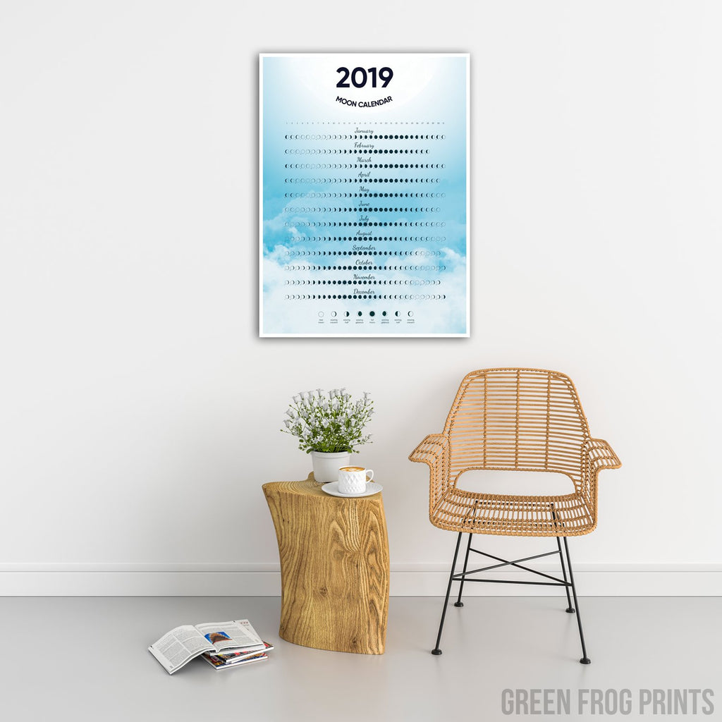 Moon Phases Calendar for 2019 Poster | Beautiful Moon Schedule Celestial Design