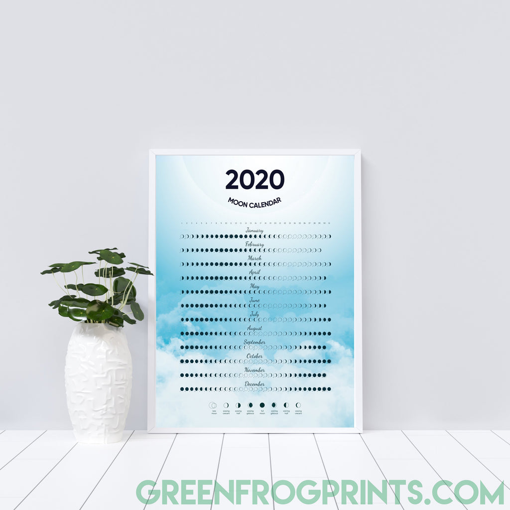 Moon Phases Calendar for 2020 Poster | Beautiful Moon Schedule Celestial Design