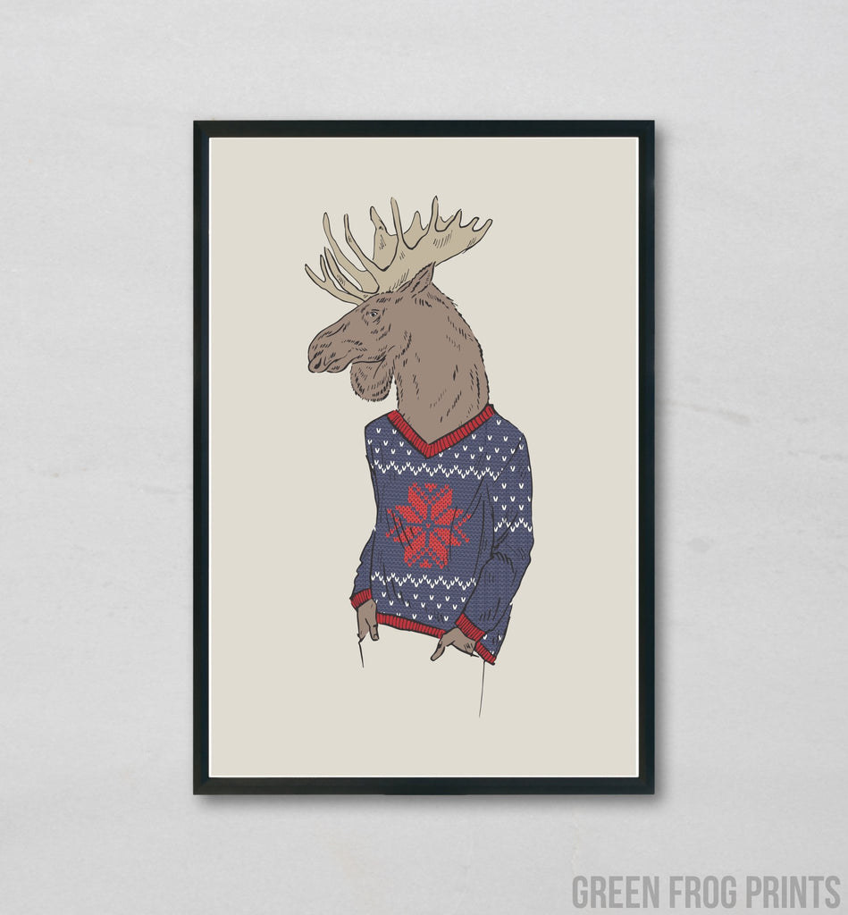 Moose Wearing A Christmas Sweater | Funny Poster Print Wall Art Holiday Decor