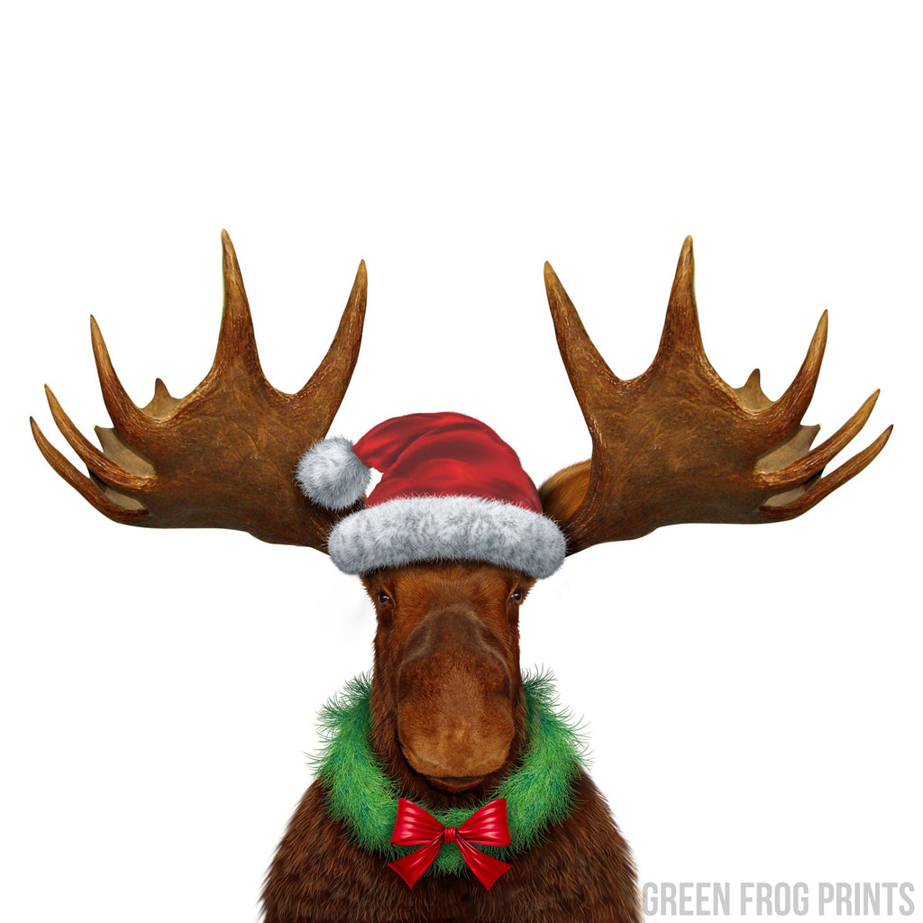 Funny Realistic Christmas Moose Poster Print Cool Unusual Holiday Decor Picture Art