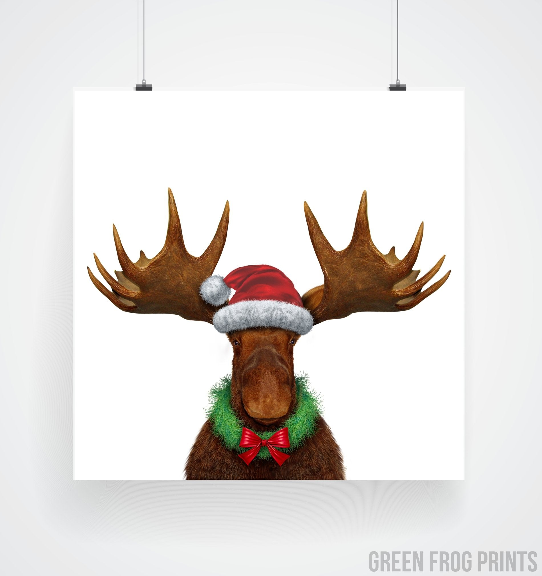 446bae36 Funny Realistic Christmas Moose Poster Print Cool Unusual Holiday Decor  Picture Art