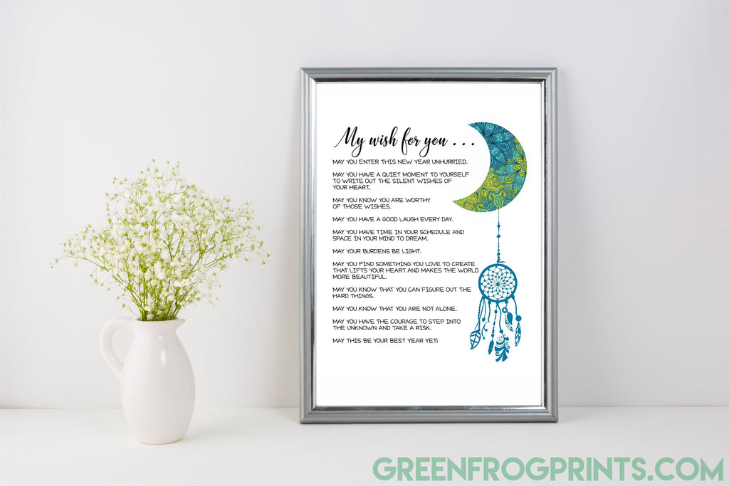 My Wish For You | Boho Style Well Wishes For New Year, etc. | Inspirational Printed Poster Paper Signs