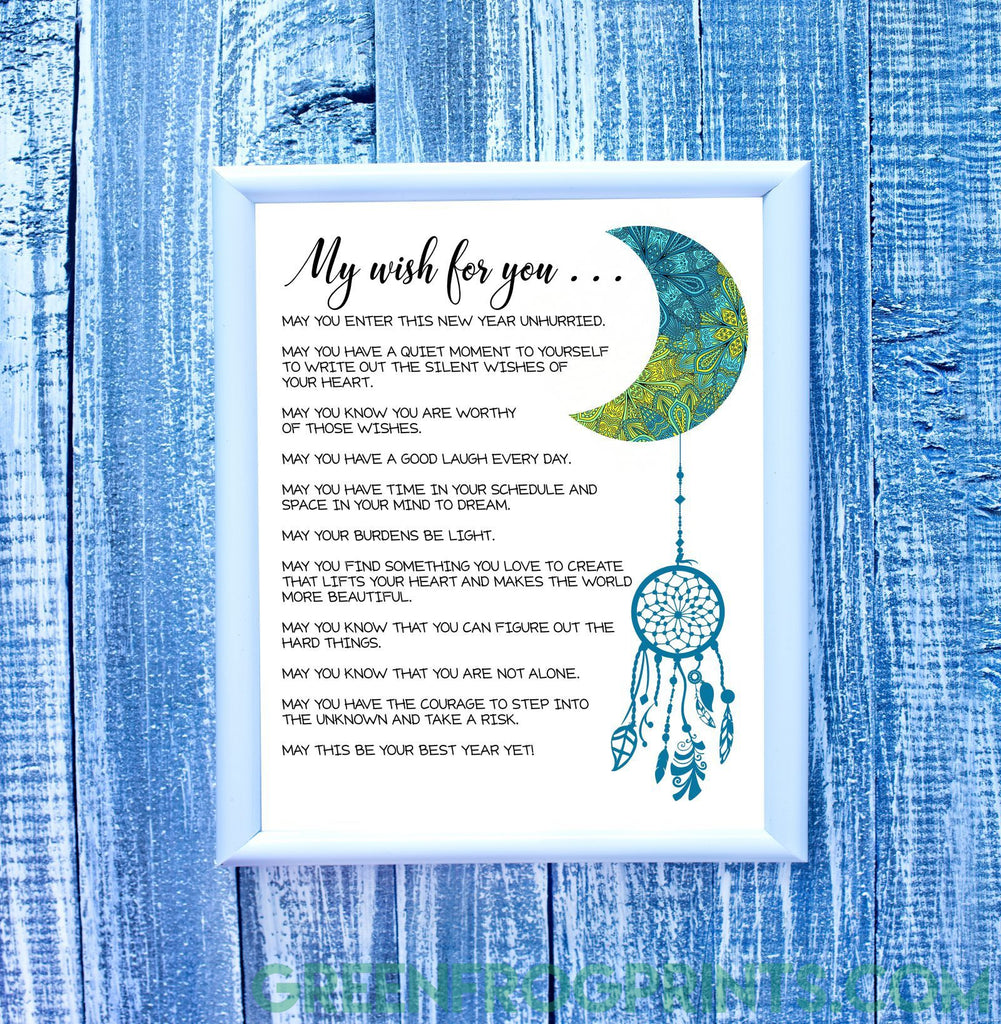 My Wish For You | Beautiful Poster Print With A Year Full Of Wishes | Great Gift Idea