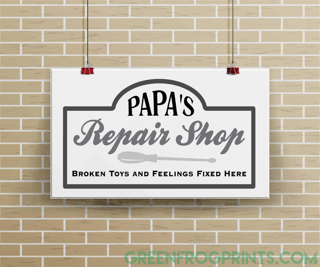 Dad's Repair Shop | Personalized Dad Grandpa Pop or Papa Repair Shop Garage Poster Art