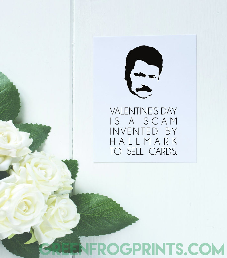 Set of 7 Ron Swanson Valentine's Day Poster Prints | Parks & Rec Fan Gift Idea
